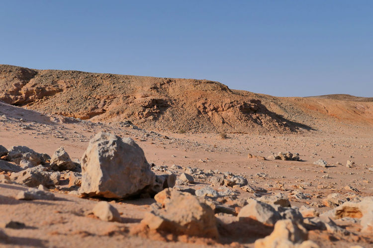 Surface level of rocks on land against clear sky