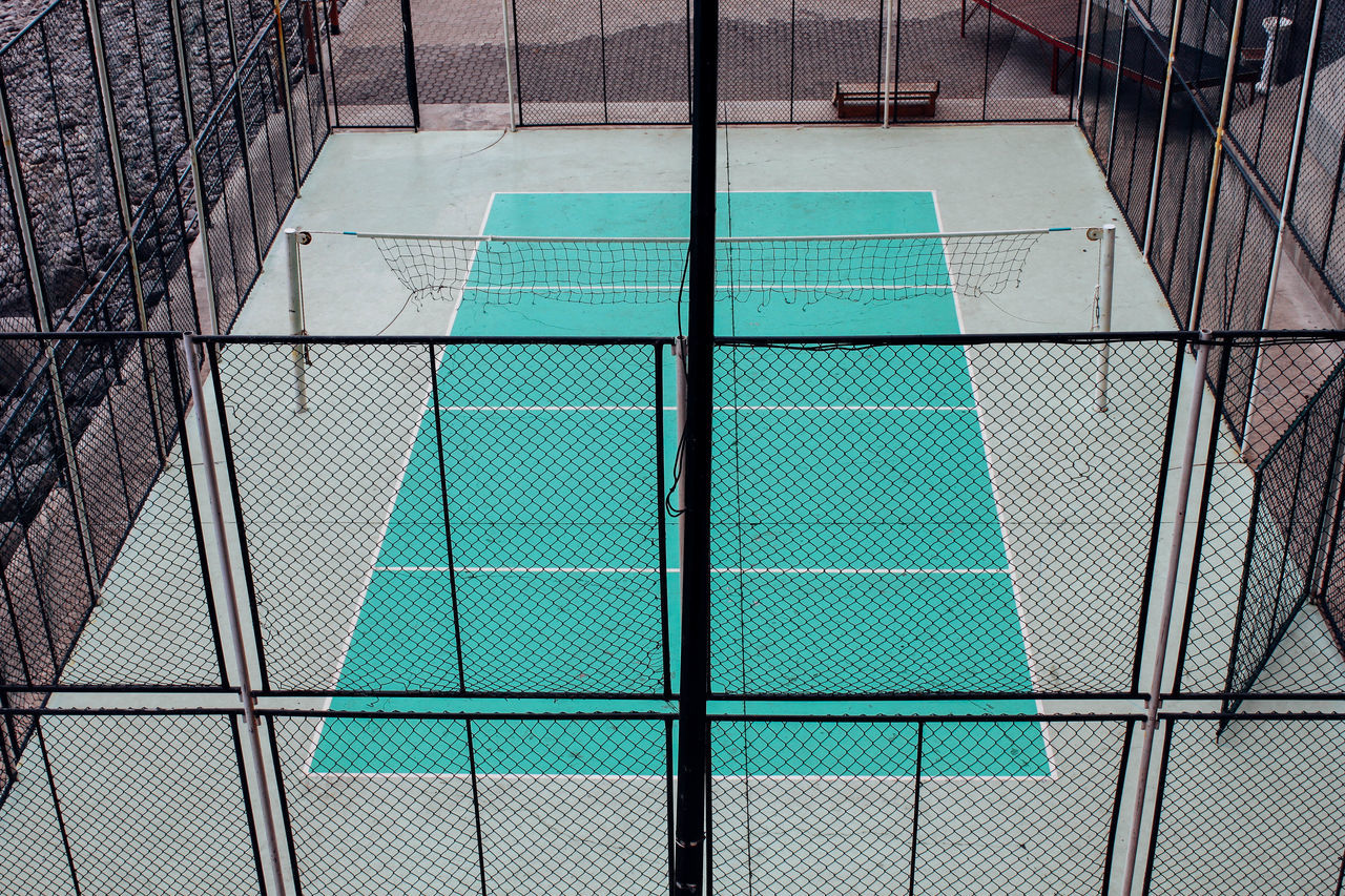 High Angle View Of Empty Badminton Court