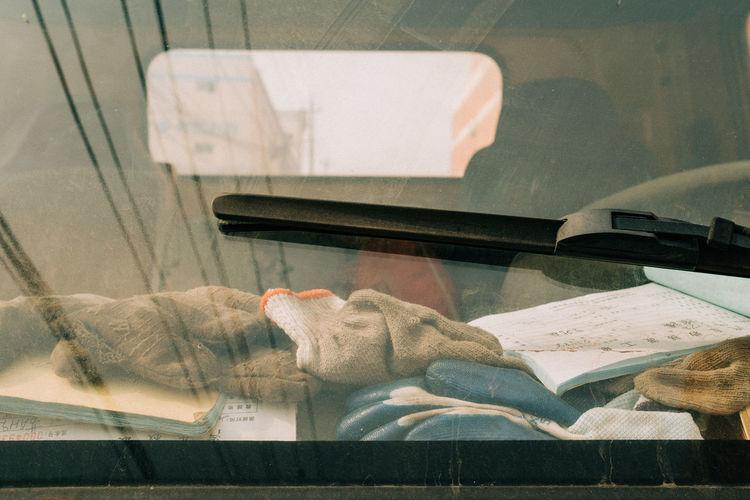 Close-up of car windshield wiper