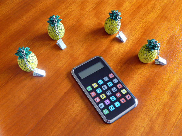 Objects / articles Electronic Calculator Nipper Plier Ananas Boutons Colorés Cerclage Chromé Chrome Strapping Colored Buttons Office Pince Pineapples Pliers Rechner