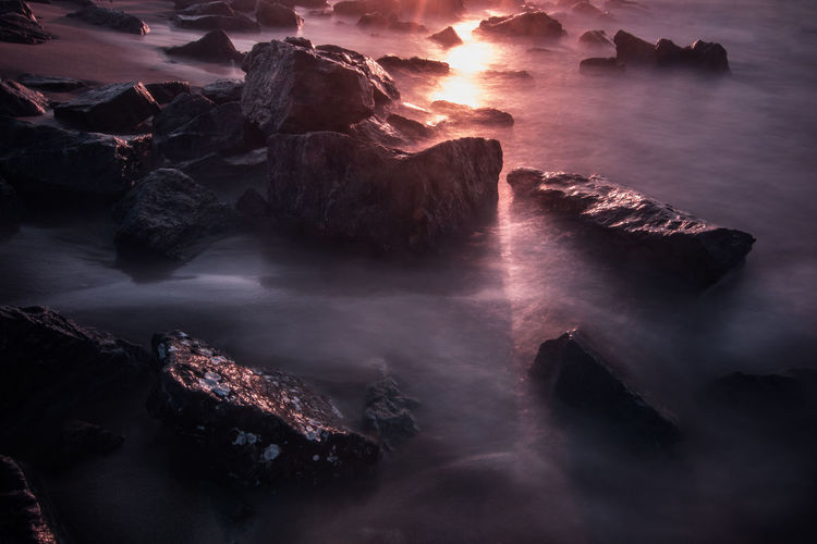 The second sun Abstract Beach Beauty In Nature Geology Light Long Exposure Majestic Nature Nature Non-urban Scene Ocean Reflection Rock Rock Rock - Object Rock Formation Scenics Sea Seascape Sun Sunrise Tranquil Scene Tranquility Travel Water