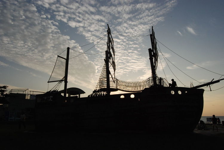 Okinawa Araha Beach Architecture Building Exterior Built Structure City Cloud - Sky Connection Day Low Angle View Nature No People Outdoors Pirateship  Silhouette Sky Sunset