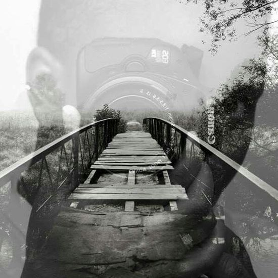 My first double exposure photo. It means I am Enjoying Life crossing the bridge into a new life...which is photography. First Eyeem Photo Blackandwhite Bridge Photooftheday Photoshop Double Exposure The Story Behind The Picture Canont3i
