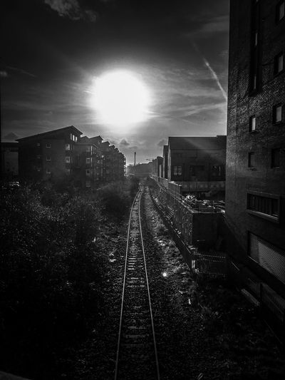 Sunshine on Leith Perspective Blackandwhite Railroad Track Architecture Built Structure Rail Transportation Transportation Building Exterior Sky Railway Track High Angle View