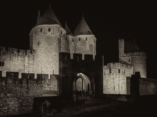 Carcassonne MedievalTown Sepia Toned Architecture Building Exterior Built Structure Castle History Medieval Architecture Monochrome Monochrome Photography Night Outdoors Sepia Spirituality The Past Travel Destinations