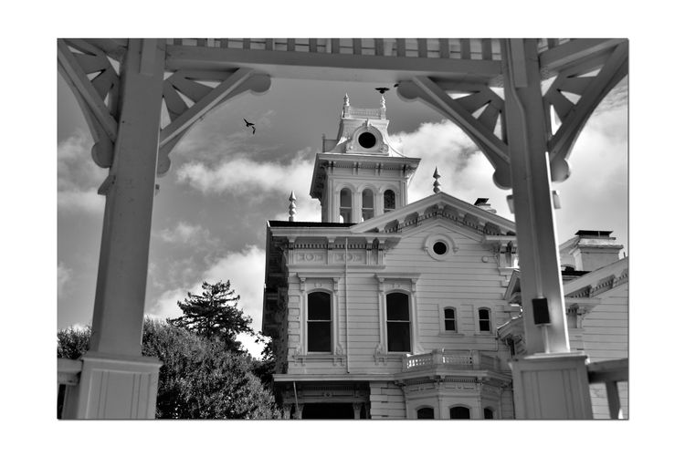 Meek Mansion 7 Cherryland,Ca. Historic Meek Mansion Gazebo Architecture Victorian Style: Second Empire, Italian Villa Built 1869 William Meek 10 Acre Estate Once 3,000 Acres Orchards: Cherry,apricots, Plums & Almonds Monochrome_Photography Monochrome Black & White Black & White Photography Black And White Black And White Collection  Hayward Area Recreation Dept. H.A.R.D Purchased 1964 Hayward Area Historical Society Manages  National Register Of Historic Places 73000393
