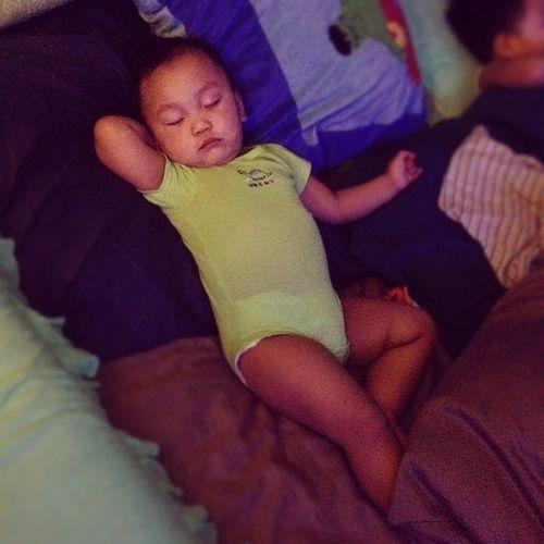 KnockedOut Logan's Strikingapose in his Sleep LOL . goodnight