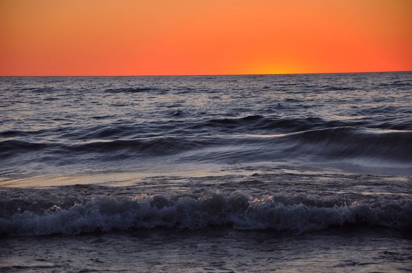Sea Sunset Horizon Over Water Beauty In Nature Scenics Nature Water Tranquility Orange Color Tranquil Scene Idyllic No People Beach Wave Sky Rippled Outdoors Clear Sky Sun Day Jamie Brown Lake Michigan After Glow Breathing Space The Week On EyeEm