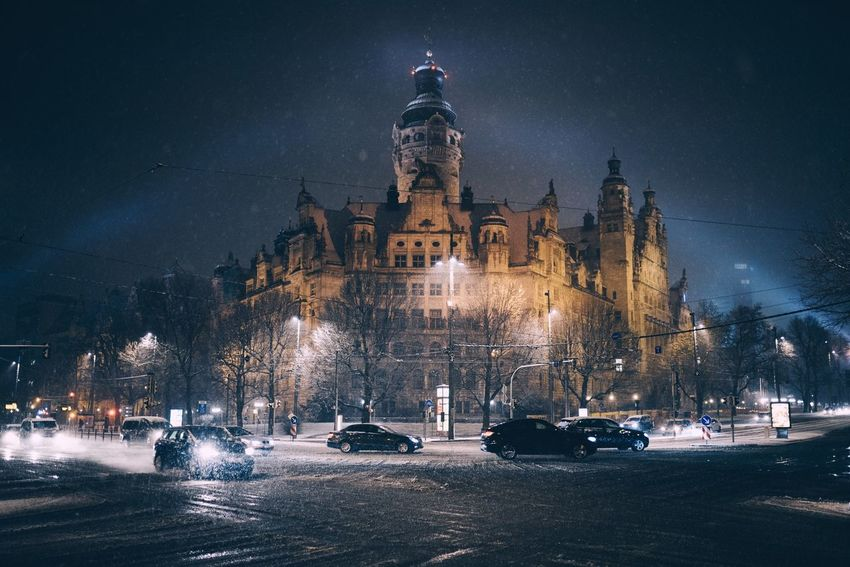Snowstorm in Leipzig Sachsen Leipzig Night Illuminated Architecture Long Exposure Travel Destinations Statue No People Sculpture Outdoors Sky Star - Space Galaxy Astronomy
