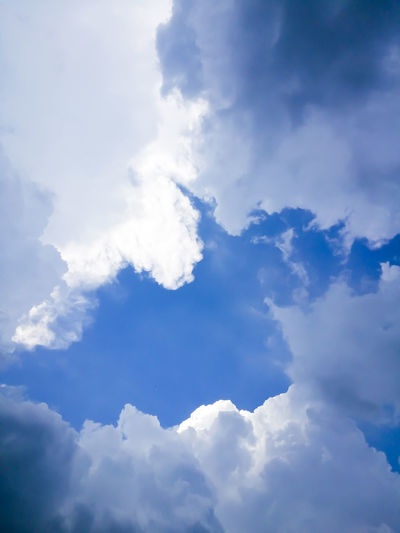 Backgrounds Beauty In Nature Blue Cloud - Sky Cloudscape Day Fluffy Full Frame Idyllic Low Angle View Meteorology Nature No People Non-urban Scene Outdoors Scenics - Nature Sky Softness Sunlight Tranquil Scene Tranquility White Color
