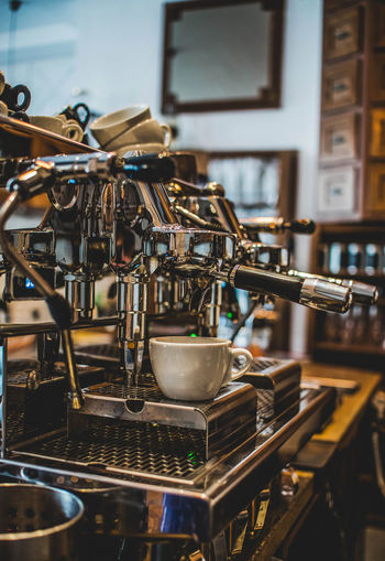 Close-up of machinery in cafe at home