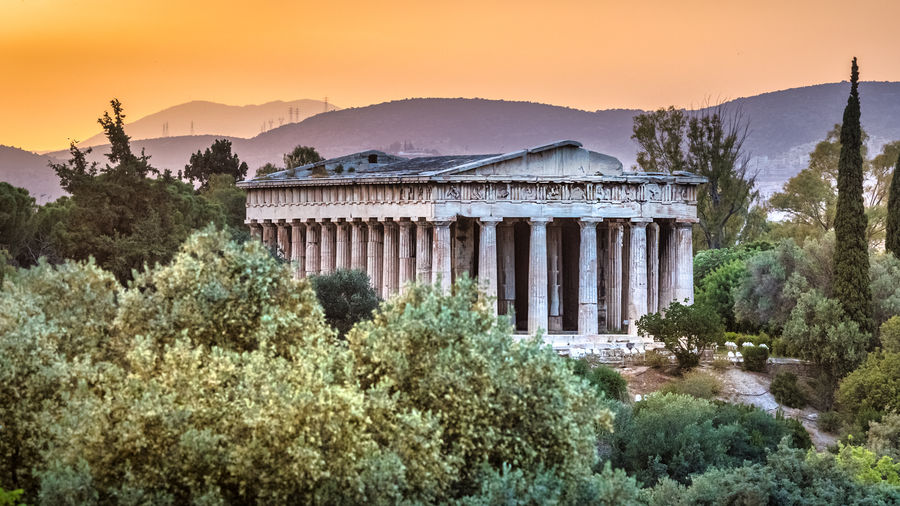 The ancient agora of athens at sunset, greece.