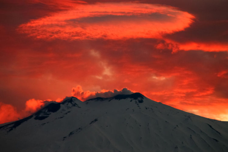 Catania Sky Sunset Beauty In Nature Cloud - Sky Mountain Scenics - Nature Tranquil Scene Tranquility Snow Winter Cold Temperature Orange Color Nature Idyllic Non-urban Scene No People Majestic Landscape Volcano Snowcapped Mountain Mountain Peak Outdoors Power In Nature