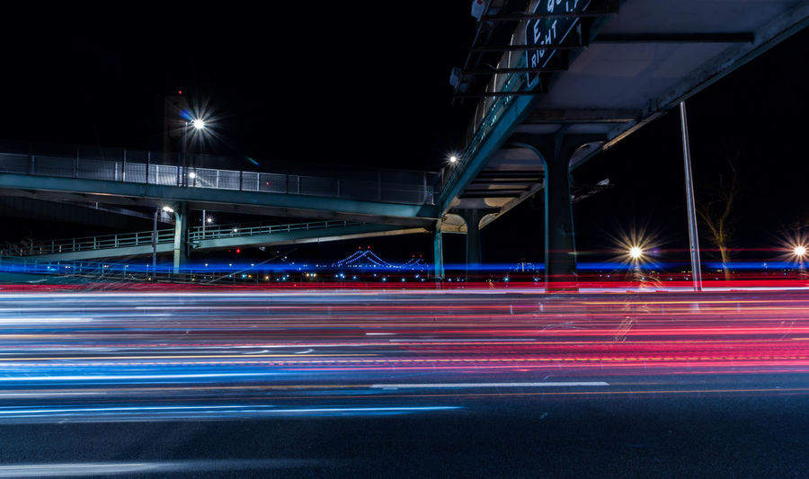 Long exposure photography of the FDR highway located in New York City. Architecture Blurred Motion Bridge - Man Made Structure Built Structure Car Trails City Highway Illuminated Light Trail Long Exposure Motion Night No People Road Speed Starburst Street Light Traffic Transportation Fresh On Market 2017