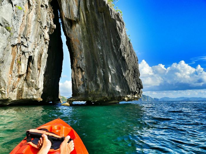 Lets paddle tru! 💓😍☝🌞☺👉🏄 Kayaking Cliffs Feets Relaxing Lovemylife Happy Paradise Ocean Traveling Philippines Visual Trends SS16 - Lifestyle X Travel