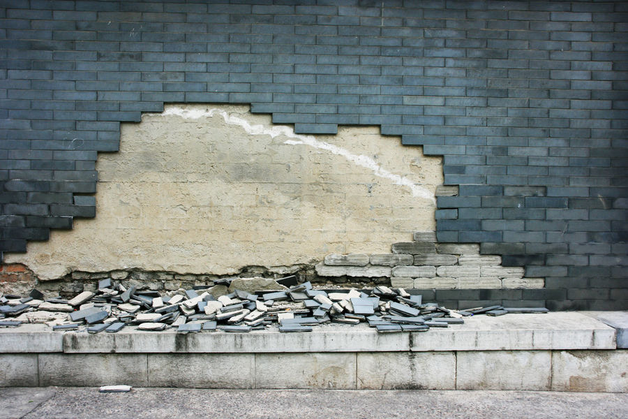 Without Make-up - Hutong Beautification, Beijing Beijing Brick Wall Make-up Alley Architecture Beautification Brick Wall Building Exterior Built Structure China Day Degradation Fallen Hutong Street No People Outdoors Plaster Stack Tiles