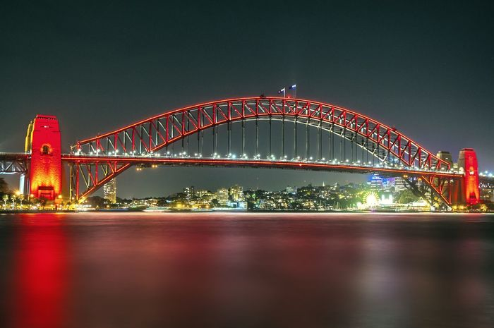 Chinese New Year 2018 Sydney Harbour Bridge Architecture Arts Culture And Entertainment Bridge - Man Made Structure Built Structure City Cityscape Clear Sky Connection Illuminated Night No People Outdoors Travel Destinations Waterfront