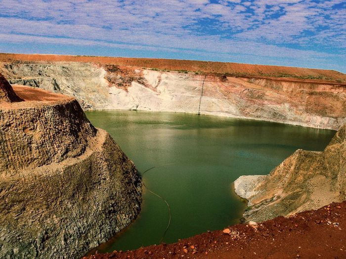 Old open cut copper mine. Water Pilbara Region Western Australia Outdoors Outback Australia Man Made