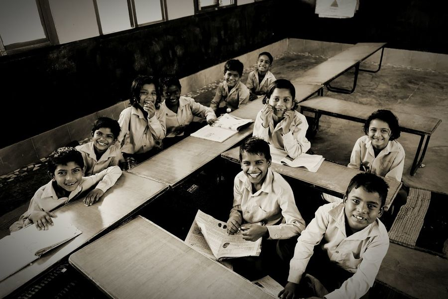 Naughty Kids Smiling Innocence Back To School Bonding Friendship Looking At Camera Indoors  Togetherness Chukles Happy Kids Beautiful Souls Education First ! Rural India Childhood Toothy Smile Small Things Make You Happy Monochrome Photography Unicef