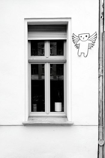 Day 295 - Thing with wings Berlin Blackandwhite Streetart Wall Window 365project 365florianmski Day295