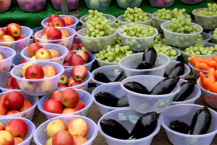 High Angle View Of Fruits And Vegetables In Container For Sale