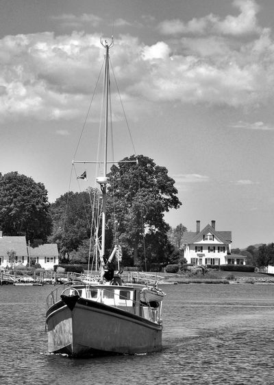beautiful day in Mystic, CT Black And White Boat Black And White Nautical Black And White Photography Black And White Sailing Black And White Water Boat Mode Of Transportation Nautical Vessel Sailboat Sailing Sailing Boat Sea Transportation Water Waterfront