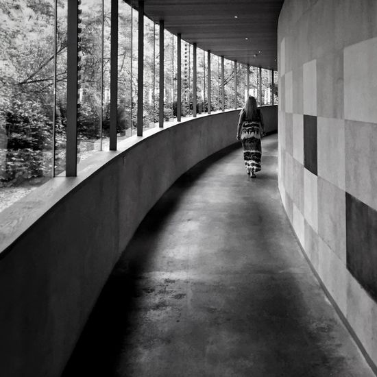 Architecture Built Structure Empty Rear View Men Bridge - Man Made Structure Day Long Underpass Narrow Tunnel Architectural Column City Life The Way Forward Elevated Walkway Pedestrian Walkway Monochrome Photography