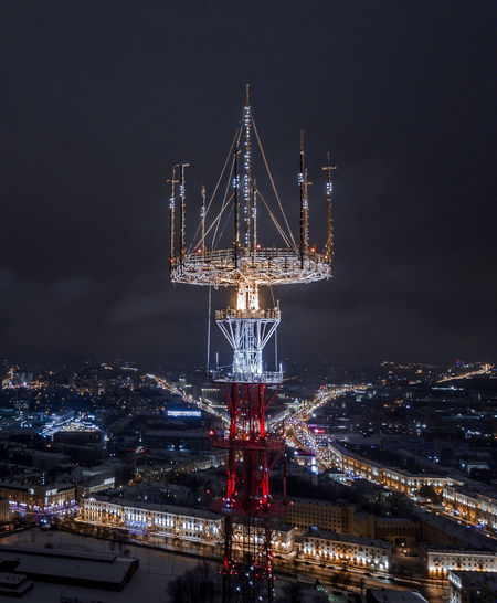 Minsk TV tower with New Year's illumination Architecture Building Exterior Illuminated City Built Structure Night Sky Cityscape Nature Building No People Outdoors Travel Destinations Aerial View Aerial Tower Illumination Minimal Belarus Light Red Blue Tranquil Scene Broadcasting