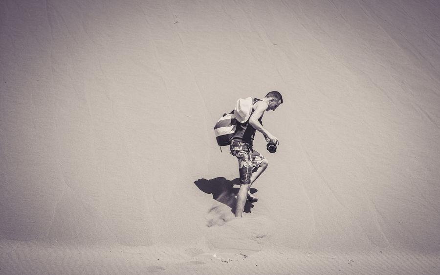 Albania Retro Shengjin Sunny Beach Day Full Length Leisure Activity Lifestyles Men Nature One Person Outdoors Photographer Ranahedhun Real People Sand Sand Dune Skill  Sport Summer Sunlight