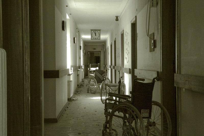 Wheelchairs in hospital corridor