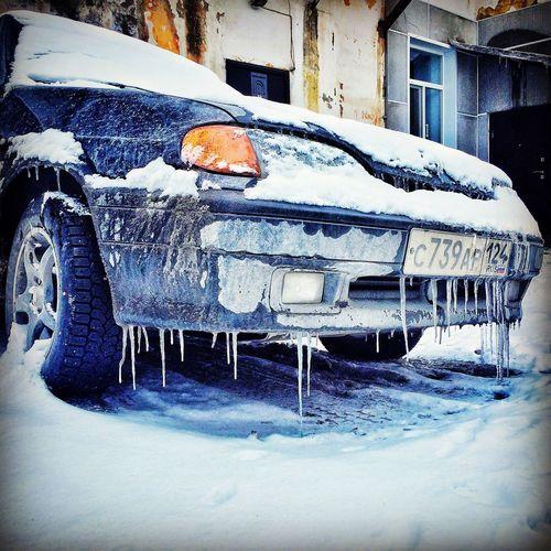 Ice Auto Winter Could  Russia 2015  Cars Vaz Sibirya Hello World