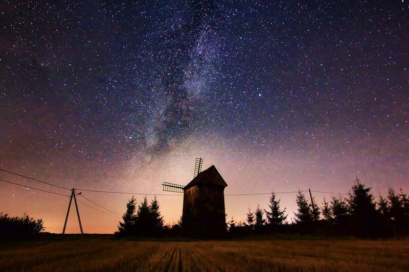Astronomy Galaxy Milky Way Star - Space Constellation Space Tree Rural Scene Star Trail Silhouette Windmill Water Pump Star Field Mill Wind Power Watermill Industrial Windmill Moody Sky Dramatic Sky
