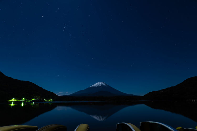 Japan  Mountain Sky Scenics - Nature Beauty In Nature Water Tranquility Tranquil Scene Nature Night Star - Space No People Lake Blue Waterfront Idyllic Mountain Range Non-urban Scene Reflection Astronomy Mountain Peak Snowcapped Mountain Star