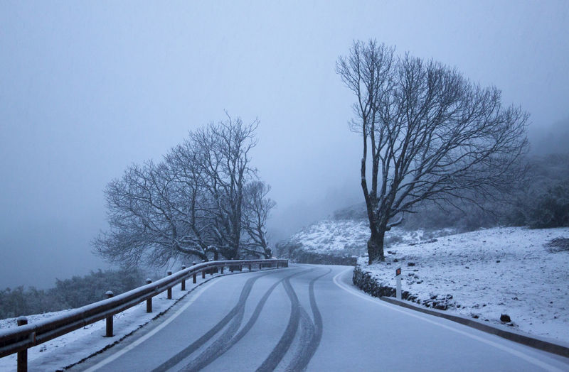 Snow covered road by bare trees against sky