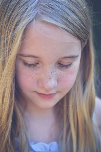 Outdoors Portrait Real People Close-up Kids Blond Hair Girls Front View One Person Headshot Smiling Day Childhood Girl The Week On EyeEm Frecklesarebeautiful Freckles