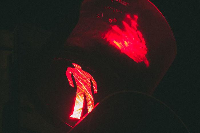 Close-up Dark Glowing Night Red Streetlight