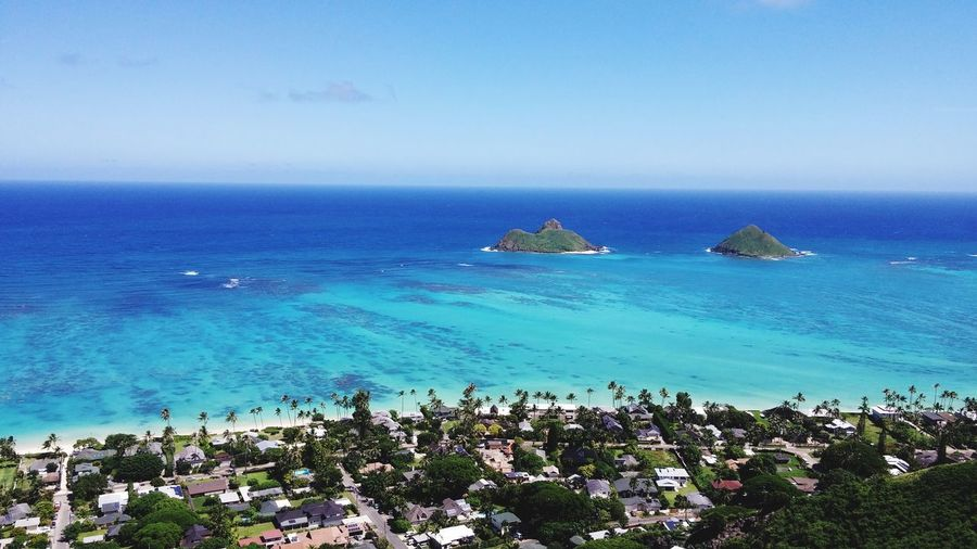 View of the Mokes from the Lanikai pillbox. Nice short, but sweet hike. There was a shark attack 50 yards offshore here yesterday. Hawaii Lanikai  Sunnyday Hiking Shark Attack