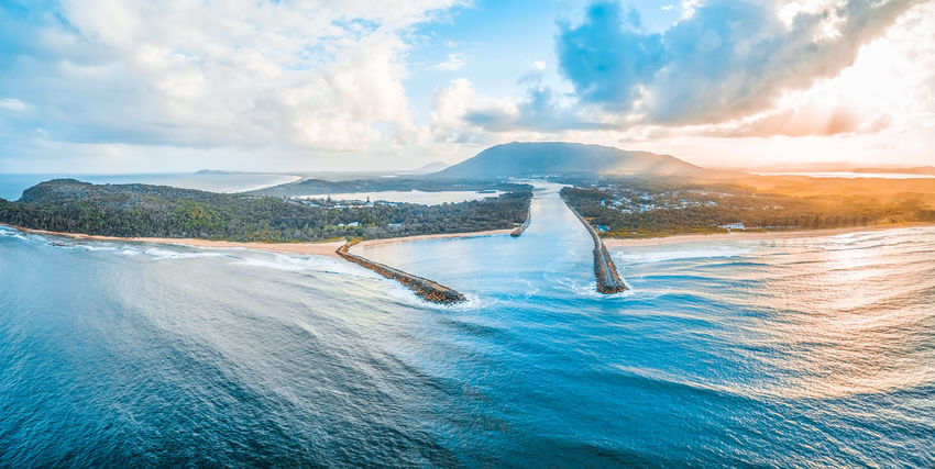 North Haven coastline. New South Wales, Australia - aerial panoramic landscape Australia Coastline Drone  Inlet New South Wales  Panorama Panoramic Vivid Colours  Aerial Aerial View Beach Beauty In Nature Blue Camden Inlet Cloud - Sky Day Drone Photography Idyllic Landscape Mountain Mountain Range Nature No People Non-urban Scene Ocean Outdoors Scenics Scenics - Nature Sea Sky Sunset Tranquil Scene Tranquility Travel Water Waterfront