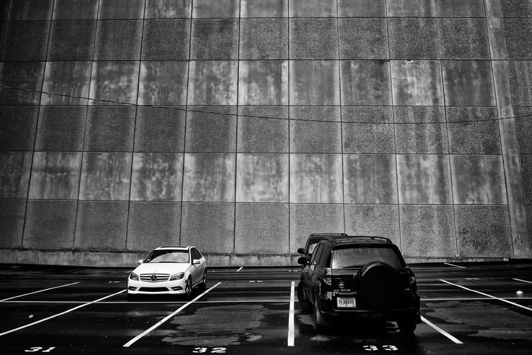 31 32 33 City Parking Lot Perspective Wall Atlanta Blackandwhite Car Concrete Day Geometry Land Vehicle Mode Of Transport Numbers Parking Pattern Transportation