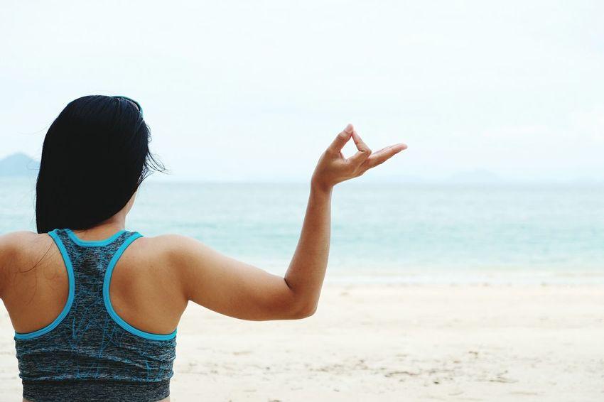 Sea Beach People Women Water Sand Lifestyles Nature Yoka Maditation Happiness