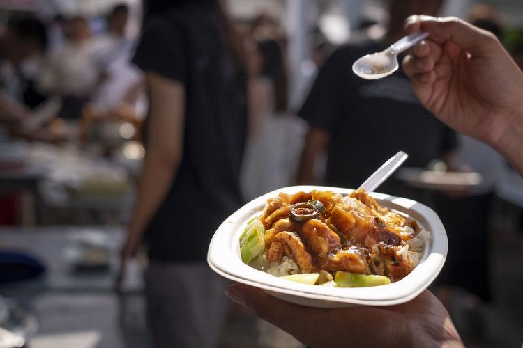 Crispy pork rice,thai street food