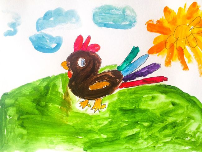 Child Drawing Hand Drawing Drawing Picture Child Chicken - Bird Rooster Chick Paint Watercolor Watercolor Painting Colorful Sun Bird Imagination Alex Drawing Алекс рисует 7 Years Old Gouache 02.2017