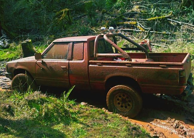 4x4 Trucks Nissan Datsun '84 Mud Muddy Road Mud Tires Outdoors Nature Love❤ Summer Adventure Family❤ Wilderness Tough Truck Friends And Family Memories Through My Lens Memoriesmade In The Woods... Trees! Live For The Story