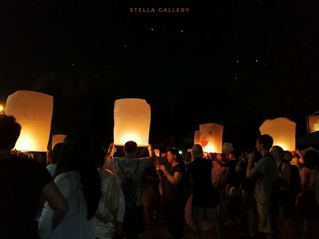 #chiangmai #StellaGallery Night People Silhouette Traditional Festival Togetherness Large Group Of People Ceremony