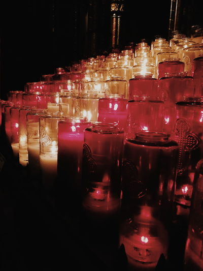 Close-up of tea light candles