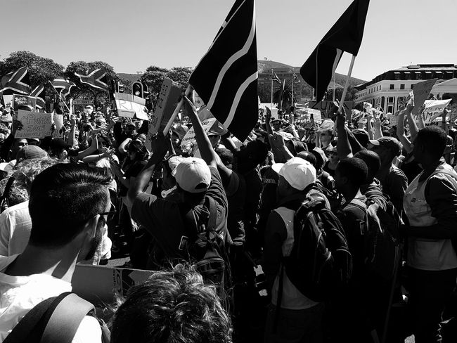 Zuma must fall protest in Cape Town. Zumamustfall Bandwphotography Blackandwhite Photography Crowd Cape Town Crowd Adults Only People Outdoors Patriotism Day Large Group Of People Adult Real People Men Cap Headwear Close-up Backgrounds Low Angle View Businessman Occupation Candid Working Out Of The Box Be. Ready. Press For Progress Protestor Togetherness Pride
