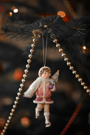 Close-up of christmas decoration hanging
