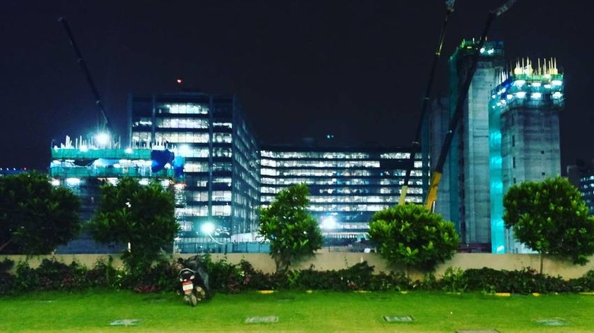 building a building Nightphotography Night View Nightshot Nightview Building Exterior Building Story Pillers Night Architecture Built Structure Grass Building Exterior Tree Illuminated