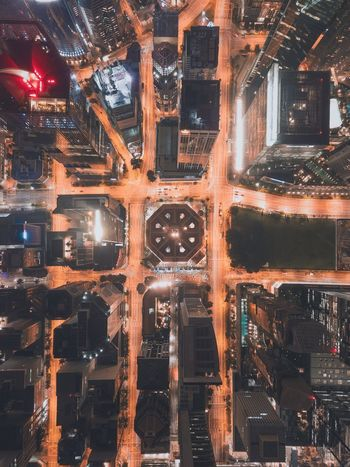 Arc reactor Grid Pattern Night Lights From Above  Above Drone  Urban Singapore City Singapore Night Illuminated No People Architecture Built Structure Outdoors Building Exterior Cityscape City