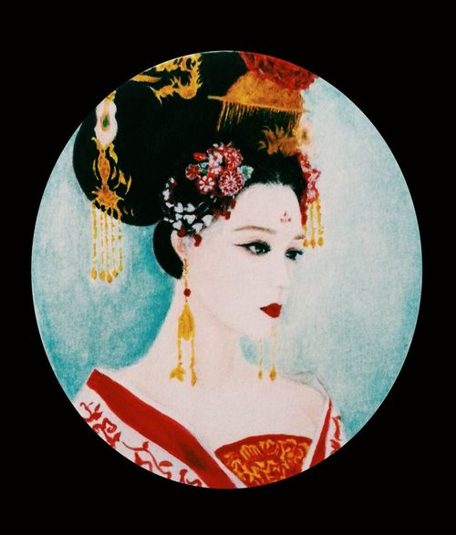 Miniature portrait of wuzetian in drama The empress of china. 10cmX9cm watercolor and color pencils on paper. Miniature Portrait Wuzetian The Empress Of China First Eyeem Photo